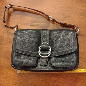 Coach F10893 pebble leather soft black purse EUC